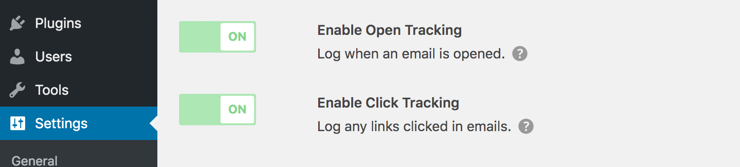 Open and click tracking of emails