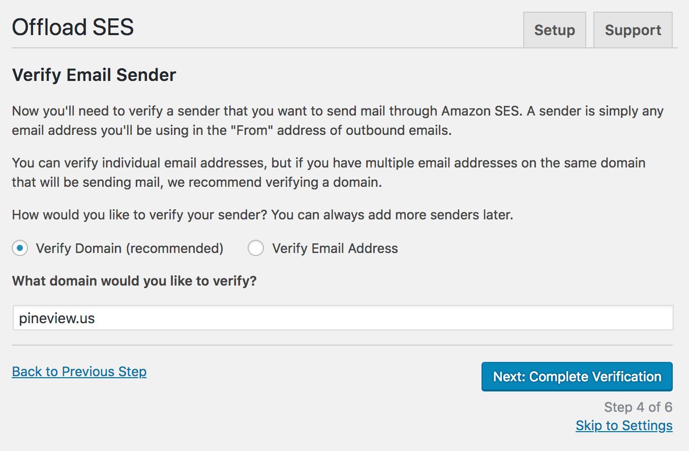 Step 4 - Verify email sender