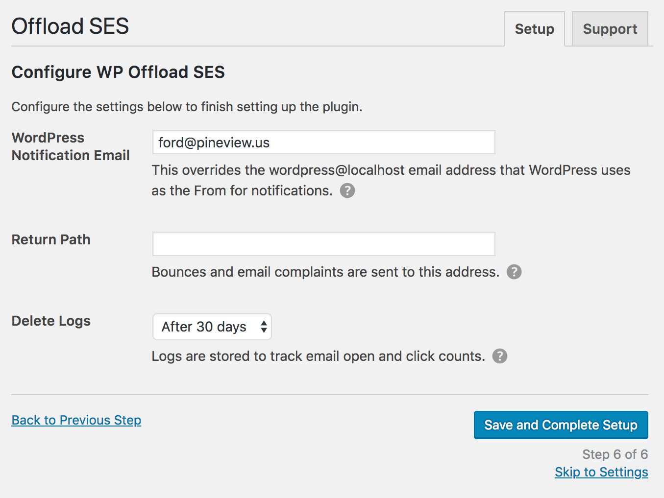 Step 6 - Configure WP Offload SES
